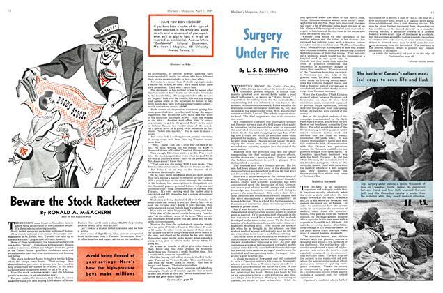 Article Preview: Beware the Stock Racketeer, April 1945 | Maclean's