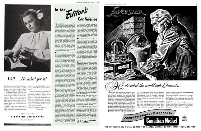 Article Preview: In the Editor's Confidence, August 1945 | Maclean's