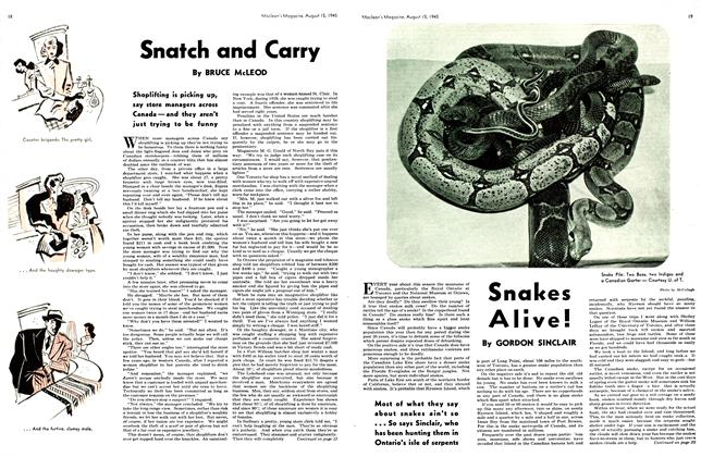 Article Preview: Snakes Alive!, August 1945 | Maclean's
