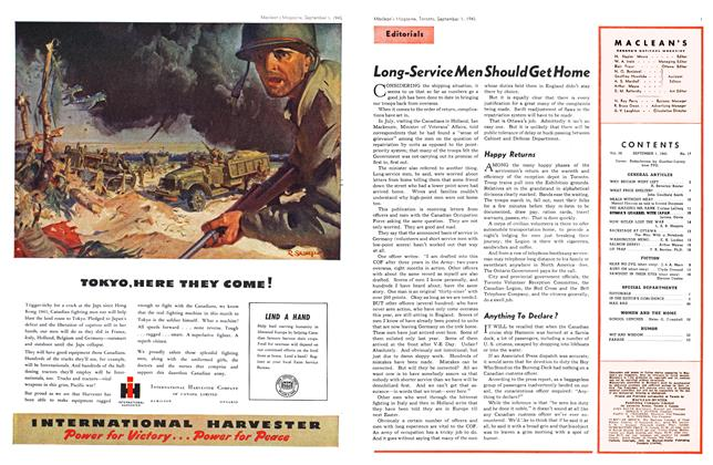 Article Preview: Long-Service Men Should Get Home, SEPT. 1, 1945 1945 | Maclean's