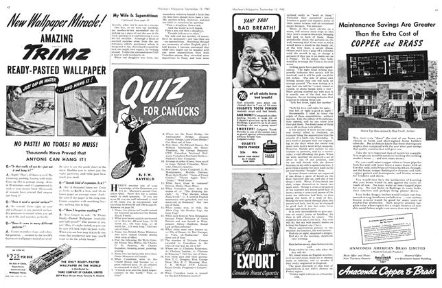 Article Preview: QUIZ FOR CANUCKS, Sept. 15, 1945 1945 | Maclean's