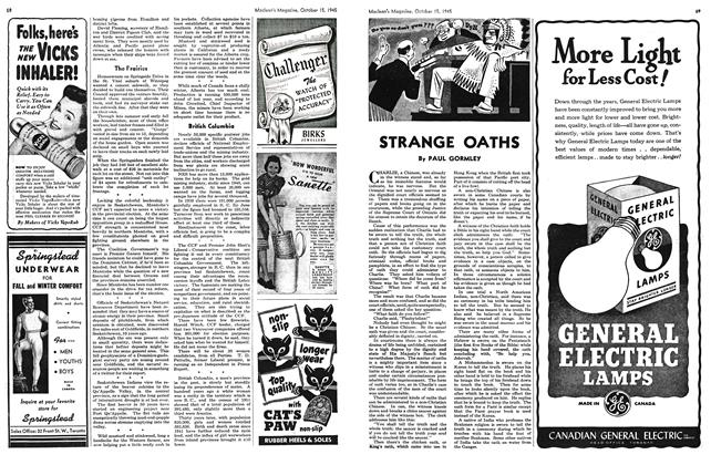 Article Preview: STRANGE OATHS, October 1945 | Maclean's