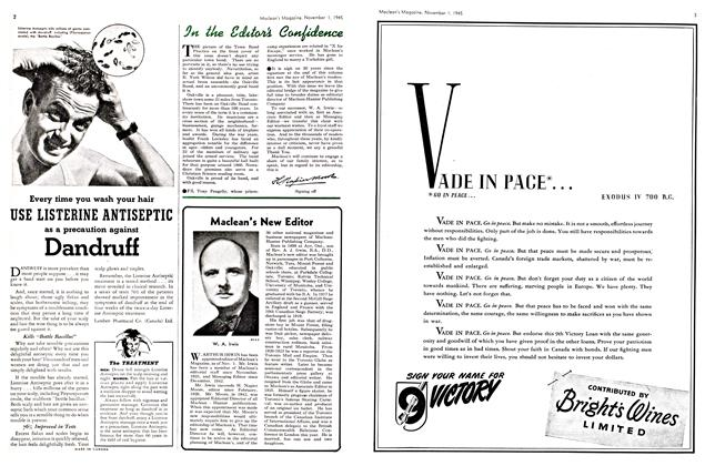 Article Preview: In the Editor's Confidence, November 1945 | Maclean's
