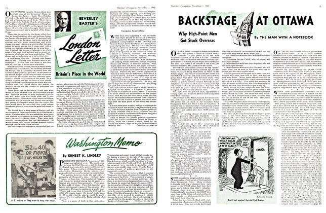 Article Preview: BACKSTAGE AT OTTAWA, November 1945 | Maclean's