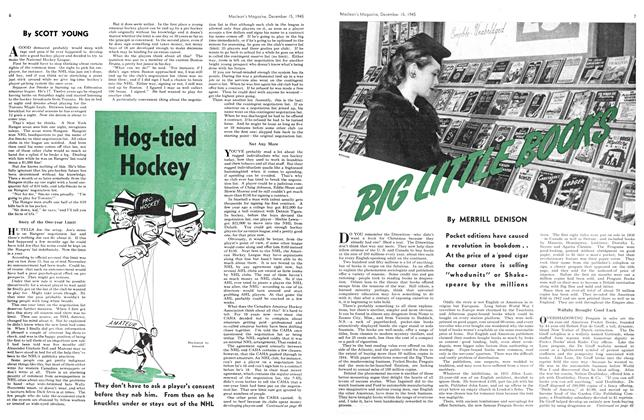 Article Preview: Hog-tied Hockey, December 1945 | Maclean's
