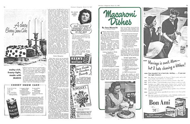 Article Preview: Macaroni Dishes, March 1947 | Maclean's