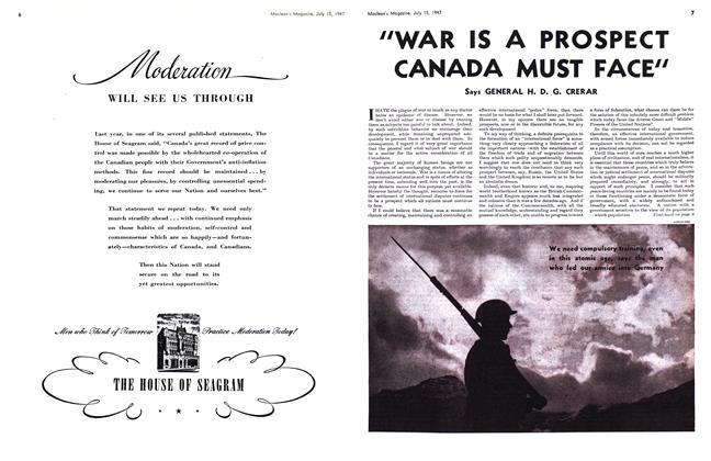 "Article Preview: ""WAR IS A PROSPECT CANADA MUST FACE"", July 1947 