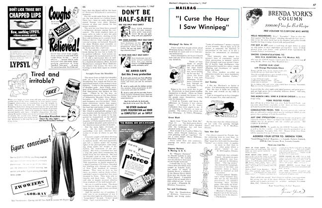 "Article Preview: ""I Curse the Hour I Saw Winnipeg"", November 1947 