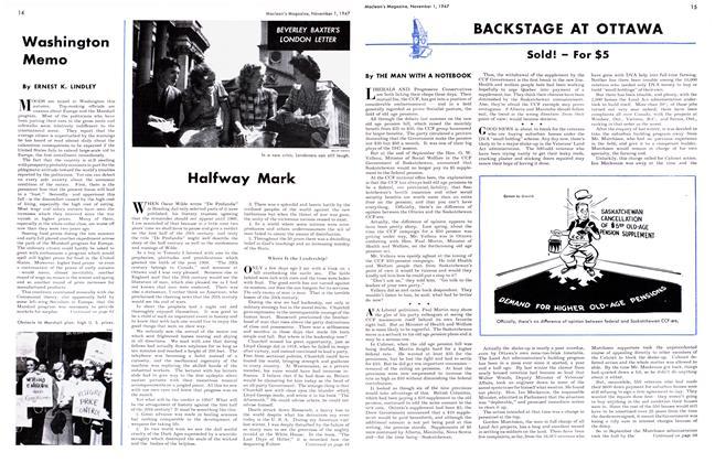 Article Preview: BACKSTAGE AT OTTAWA, November 1947 | Maclean's