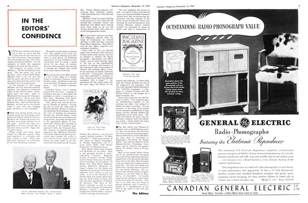 Article Preview: IN THE EDITORS' CONFIDENCE, November 1947 | Maclean's