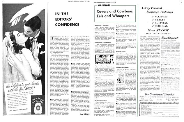 Article Preview: IN THE EDITORS' CONFIDENCE, January 1948 | Maclean's