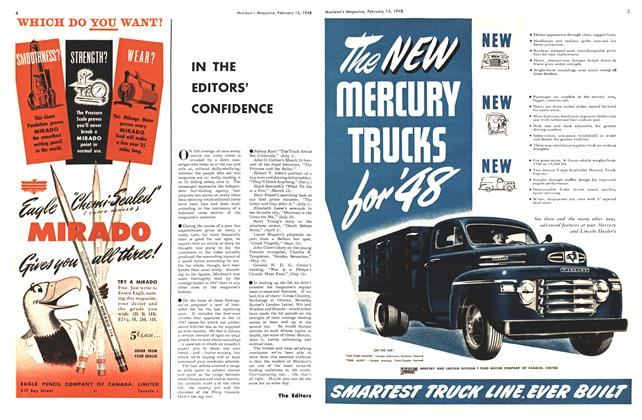 Article Preview: IN THE EDITORS' CONFIDENCE, February 1948 | Maclean's