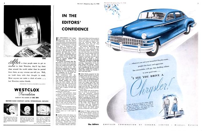 Article Preview: IN THE EDITORS' CONFIDENCE, May 1948 | Maclean's