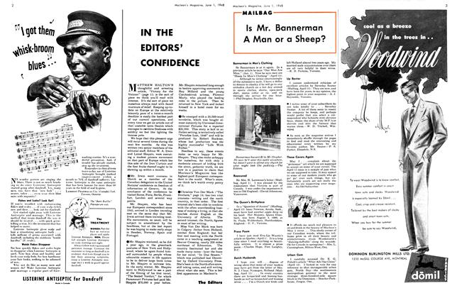 Article Preview: IN THE EDITORS' CONFIDENCE, June 1948 | Maclean's