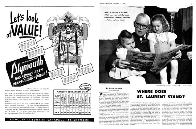 Article Preview: WHERE DOES ST. LAURENT STAND?, September 1948 | Maclean's