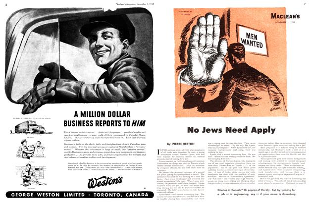 Article Preview: No Jews Need Apply, November 1948 | Maclean's