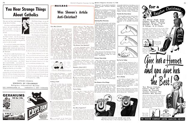 Article Preview: Was Sheean's Article Anti-Christian?, November 1948 | Maclean's