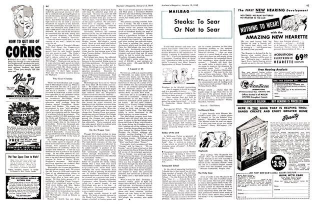 Article Preview: Steaks: To Sear Or Not to Sear, January 1949 | Maclean's
