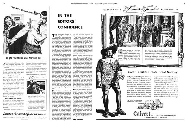 Article Preview: IN THE EDITORS' CONFIDENCE, February 1949 | Maclean's