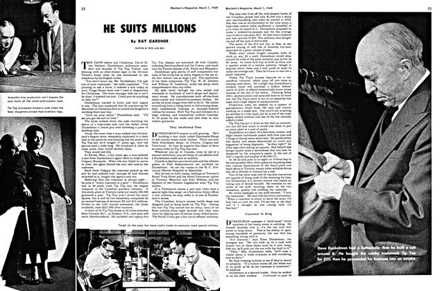 Article Preview: HE SUITS MILLIONS, March 1949 | Maclean's