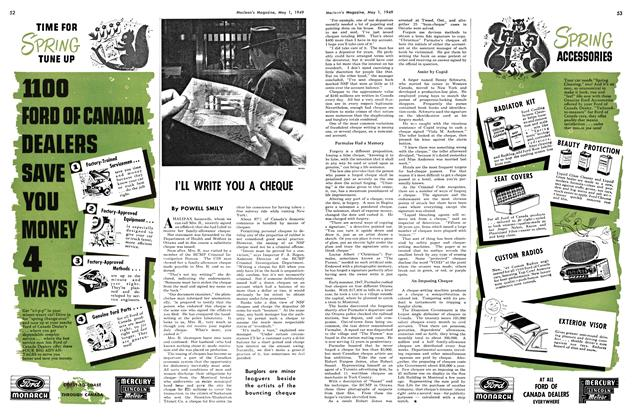 Article Preview: I'LL WRITE YOU A CHEQUE, May 1949 | Maclean's