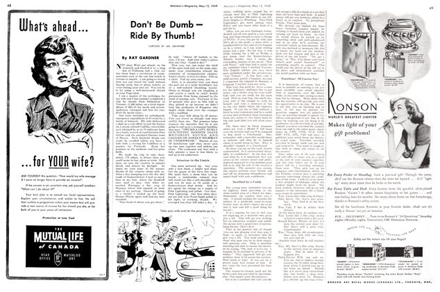 Article Preview: Don't Be Dumb — Ride By Thumb!, May 1949 | Maclean's