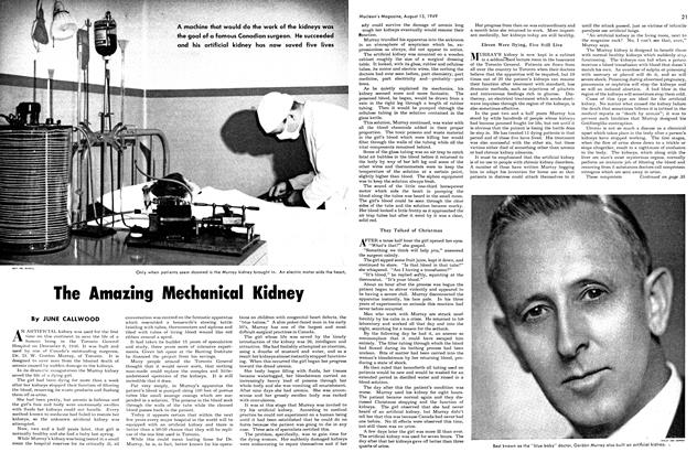 Article Preview: The Amazing Mechanical Kidney, August 1949 | Maclean's