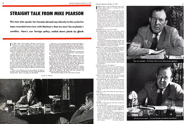 Article Preview: STRAIGHT TALK FROM MIKE PEARSON, October 1949 | Maclean's