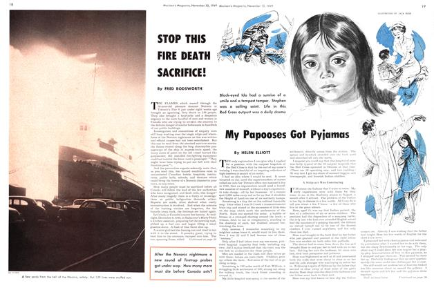 Article Preview: STOP THIS FIRE DEATH SACRIFICE!, November 1949 | Maclean's