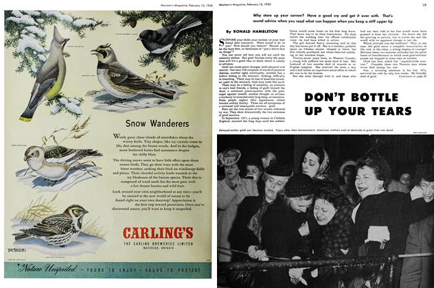Article Preview: DON'T BOTTLE UP YOUR TEARS, February 1950 | Maclean's