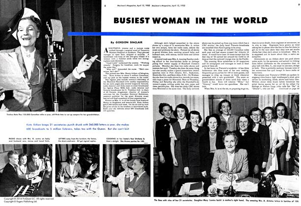 Article Preview: BUSIEST WOMAN IN THE WORLD, April 1950 | Maclean's