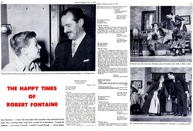 Article Preview: THE HAPPY TIMES OF ROBERT FONTAINE, May 1950 | Maclean's