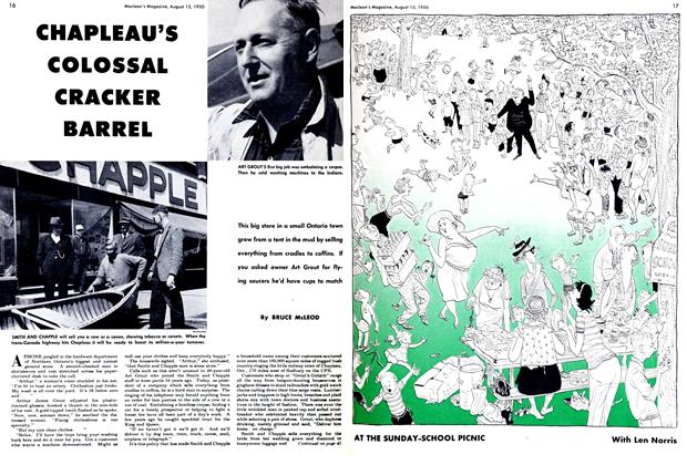 Article Preview: CHAPLEAU'S COLOSSAL CRACKER BARREL, August 1950 | Maclean's