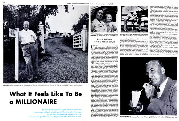 Article Preview: What It Feels Like To Be a MILLIONAIRE, September 1950 | Maclean's