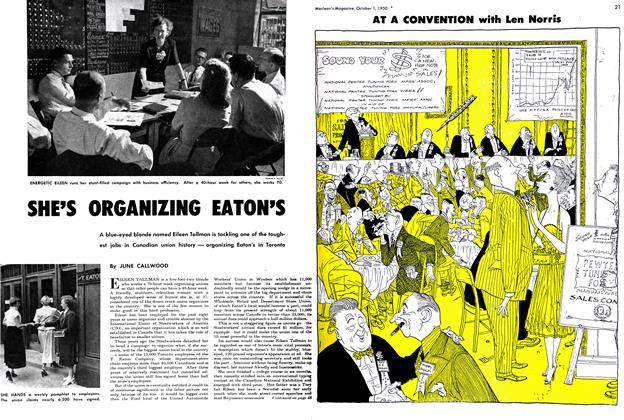 Article Preview: SHE'S ORGANIZING EATON'S, October 1950 | Maclean's