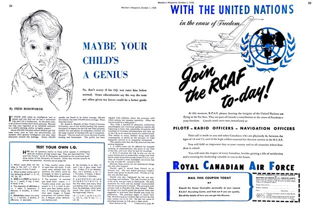 Article Preview: MAYBE YOUR CHILD'S A GENIUS, October 1950 | Maclean's
