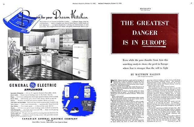 Article Preview: THE GREATEST DANGER IS IN EUROPE, October 1950 | Maclean's