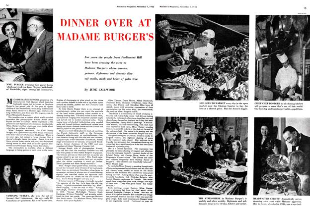Article Preview: DINNER OVER AT MADAME BURGER'S, November 1950 | Maclean's