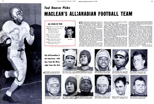 Article Preview: Ted Reeve Picks MACLEAN'S ALL CANADIAN FOOTBALL TEAM, December 1950 | Maclean's