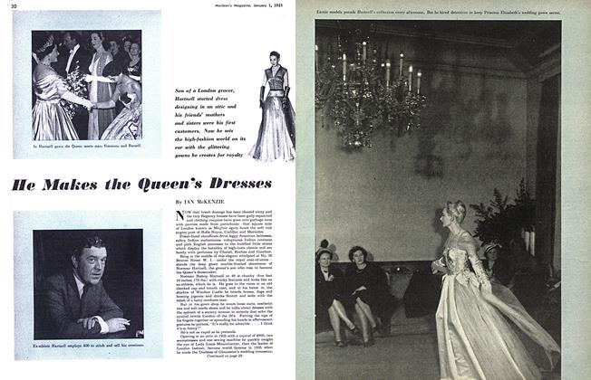 Article Preview: He Makes the Queen's Dresses, January 1951 | Maclean's