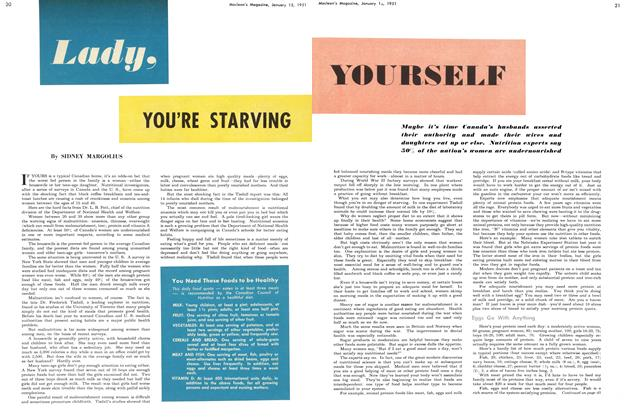 Article Preview: Lady, YOU'RE STARVING YOURSELF, January 1951 | Maclean's