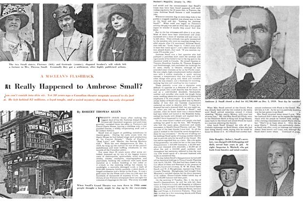 Article Preview: What Really Happened to Ambrose Small?, January 1951   Maclean's