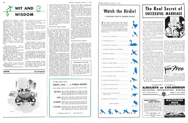 Article Preview: Watch the Birdie!, February 1951   Maclean's