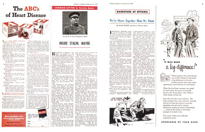 Article Preview: INSIDE STALIN, MAYBE, February 1951 | Maclean's
