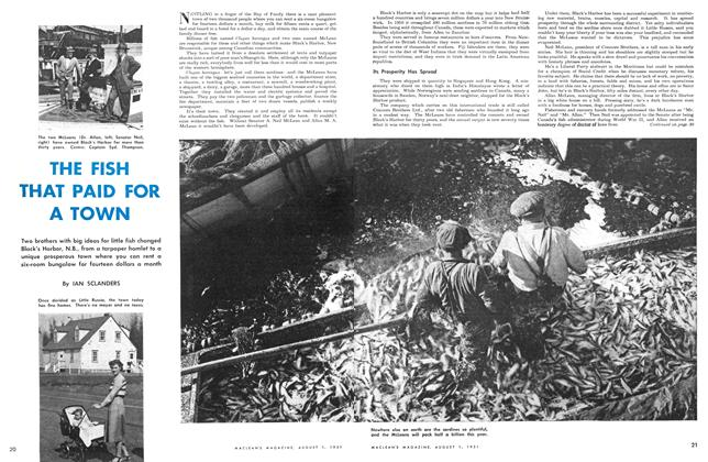 Article Preview: THE FISH THAT PAID FOR A TOWN, August 1951 | Maclean's