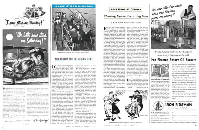 Article Preview: NEW MEMBERS FOR THE STERLING CLUB?, August 1951 | Maclean's