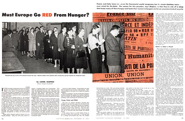 Article Preview: Must Europe Go RED From Hunger?, September 1951 | Maclean's