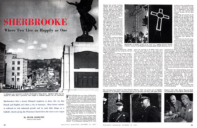 Article Preview: SHERBROOKE Where Two Live as Happily as One, October 1951 | Maclean's