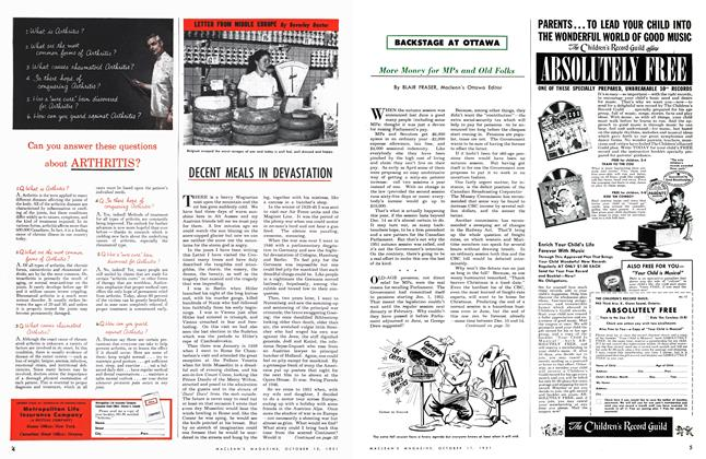 Article Preview: DECENT MEALS IN DEVASTATION, October 1951 | Maclean's