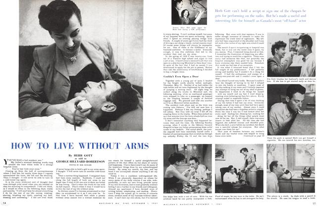 Article Preview: HOW TO LIVE WITHOUT ARMS, November 1951 | Maclean's